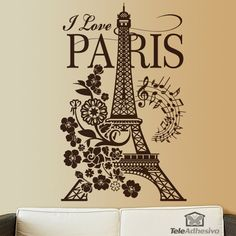 "Vinilo decorativo floral con Torre Eiffel ""I Love Paris"""