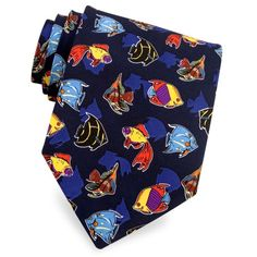 Colorful Fish Extra Long Tie by Wild Ties -  Navy blue Microfiber