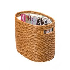 Rattan Magazine Rack - Oval Shaped and Honey Brown in Color