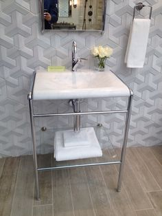 the modern pedestal and the tile on floor and wall - drooling
