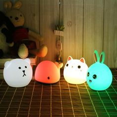 Touch Silicone Led Night <font><b>Light</b></font> USB Rechargeable Baby Children <font><b>Kids</b></font> Gift Animal Cartoon Lamp Bedside Bedroom Living <font><b>Room</b></font> Estilo Harajuku, Wooden Music Box, Kids Lamps, Led Night Light, Night Lights, Baby Night Light, Bedside Lighting, Led Desk Lamp, Bedroom Lamps