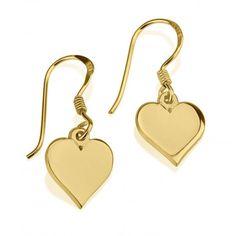 Pendientes Corazón Colgante en plata chapada en Oro de 24K