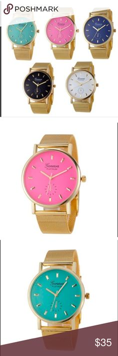 NEW! PINK LUXURY GENEVA PLATINUM GOLD WATCHES BRAND NEW IN PACKAGING!!!!!!   PERFECT VALENTINE'S DAY 💘 OR ANY OCCASION GIFT !!!  Luxury Geneva Platinum Watches with Gold Stainless bands!! ⌚  FEATURES:  * Elegant, classic, luxury style  * Analog dial display  * Quartz/battery movement  PINK Geneva Platinum Jewelry