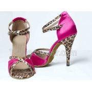 Free Shipping Wholesale Pink Leopard Satin Ballroom Latin Dance Shoes