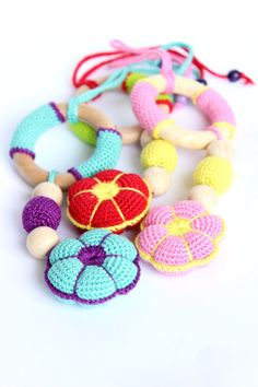 Natural wooden teethers Crochet flower toy Organic by TildaArt