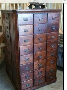 It even has drawers on the side! Metal Furniture, Unique Furniture, Industrial Furniture, Vintage Furniture, Apothecary Cabinet, Store Fixtures, Antique Cabinets, Vintage Storage, Craft Storage