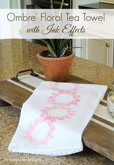 DIY Ombre' Floral Tea Towel using DecoArt Ink Effects #decoart #inkeffects #ombre #teatowel