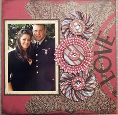 This is a scrapbook layout of my daughter Angelica and her husband Sam at his sister's wedding just one week prior to their wedding.