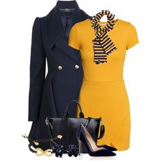 Navy and Mustard, created by jackie22 on Polyvore