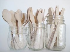 Set of 75 Disposable Wooden Utensils-25 by CreativeJuiceCafe