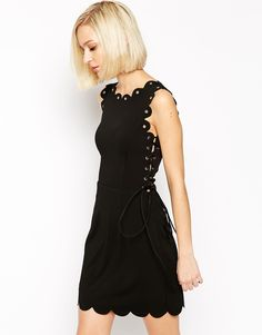 Lavish+Alice+Mini+Dress+with+Scallop+Lace+Up+Detail