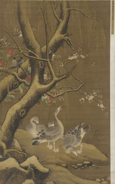 A group of geese under snow-covered willow and blossoming trees  16th-17th century