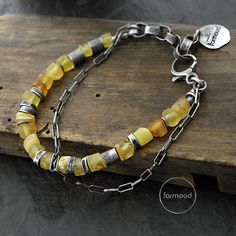 Sterling silver and amber bracelet chain от studioformood