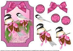 Chickadee Birds At Christmas on Craftsuprint designed by June Harrop - Lovely shaped card front which can be placed onto a card blank as is or can be cut to the shape.Simple to make but very effective. - Now available for download!