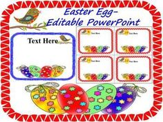 Easter Activities - Task Cards - Easter - Editable PowerPoint- SpringThis product is an editable PowerPoint file- Personal or commercial use This is a set of 24 files. Use these fun Easter egg in your Spring creations.Just click on the editable text box to add your text.