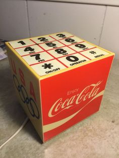 VINTAGE BOXED COCA COLA USA OLYMPICS HANDS FREE CUBE SPEAKER PHONE #HCSP-83 Coke #CocaCola