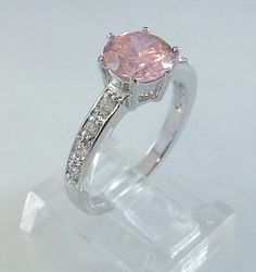 Ladies Pink Topaz CZ Solitaire 18K WGold Overlay Ring~Size 7 -Free Gift Box
