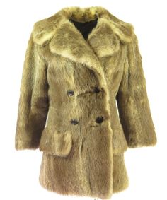 Vintage 90s Beaver Fur Coat Jacket Womens Small Doubleted Wide Collar The Clothing Vault