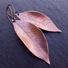 Copper Earrings Copper Leaf Earrings by Scape on Etsy