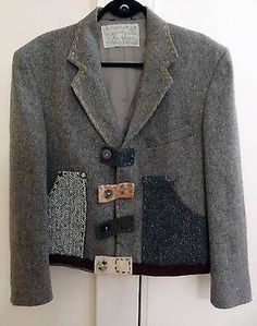 Crispina Ffrench Hand Made Recycled USA Eco Chic Blazer Jacket Coat_Womens L