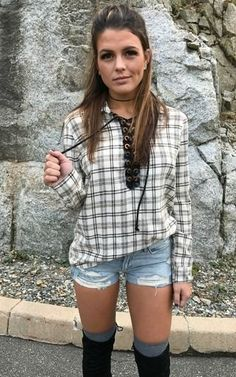 Slay that casual style by shopping this plaid lace up top by Vintage Havana.. Stand out style you won't find anywhere else but Vamped Boutique. Shop NOW!