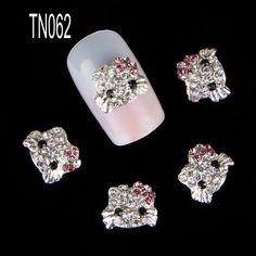 10 pcs/pack bonjour kitty forme 3d décorations de nail art strass diamant ongles paillettes art bijoux goujons. tn062 pour nail art