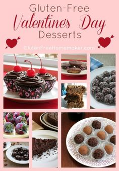 I've rounded up a few of my favorite gluten-free Valentine's Day desserts. These chocolate treats are all yummy. Gluten Free Sweets, Gluten Free Cakes, Gluten Free Baking, Heart Healthy Desserts, Healthy Dessert Recipes, Fancy Desserts, Foods With Gluten, Sans Gluten, Free Paleo Recipes