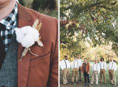bride, groom, wedding, bouquet, bridal, flowers, fall, autumn, plaid, rustic, hair, updo, dress, gown, suit, tie, groomsmen, groomsman, suspenders