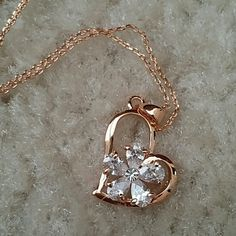 "😍LAST ONE😍Flower CZ heart necklace Real gold plated throughout, sparkling high grade CZ clustered into a beautiful flower surrounded by a heart. Larger than a dime size, lobster clasp closure. 16-18"" Jewelry Necklaces"