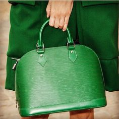 Green Louis Vuitton Alma bag.  The perfect size and shape for everyday.