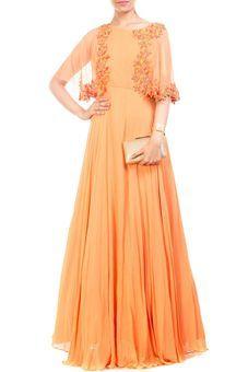 Orange Cape Gown by Anushree Agarwal, Western Gowns