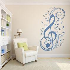 Precioso vinilo decorativo de una nota musical para tu pared. Ideal salas de música, escuelas de música, etc.