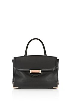 ALEXANDER WANG LARGE MARION  IN SOFT PEBBLED BLACK WITH ROSE GOLD