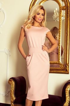 Powder Pink Wedding Dress Inspirational Pink Powder Midi Pencil Dress with Pocket European Fashion, Unique Fashion, Moderne Outfits, Women Church Suits, Luxury Wedding Dress, Pastel Pink, Dusty Pink, Camden, Women's Fashion Dresses