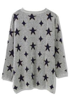 Twinkle Starts Grey Oversize Sweater//