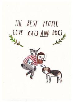 A6 Katzen und Hunde lieben Postkarte von DickVincent auf Etsy