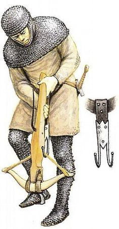 Illustration of a medieval crossbowman using a belt hook to span (draw the string on) a wood crossbow. This method of spanning the bow is relatively fast, enabling a shot about every 8 secs.