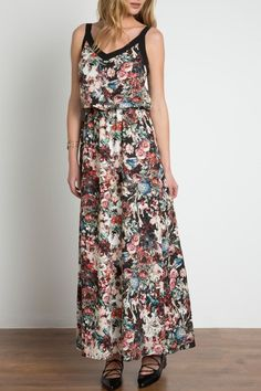 Flourish through the seasons in this dress from Urban Touch. This beautiful maxi dress is decorated with an all-over floral design and a bold block-colour edging that frames the design. It has a chic v-neckline, sleeveless cut and a nipped-in waist that effortlessly flatters the figure. Combine with wedged heels for balmy days.    Sizes are UK. UK Size 4 = US 1; UK 6 = US 2; UK 8 = US 4; UK 10 = US 6; UK 12 = US 8; UK 14 = US 10; UK 16 = 12; UK 18 = US 14; UK 20 = US 16; UK 22 = US 18…