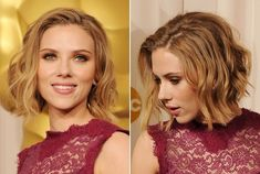 Scarlett Johansson added curl to her slightly graduated bob, but only to the center portions of each strand. Leaving the hair straight at the roots and ends added an edgy element that balanced her lacy ultra-feminine dress.