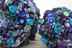 Peacock wedding bouquet - blue green purple, artificial roses, beads, crystals & buttons!  Button Bouquet Artificial Flowers Brooch Bouquet Peacock wedding bouquet Peacock feathers bouquet
