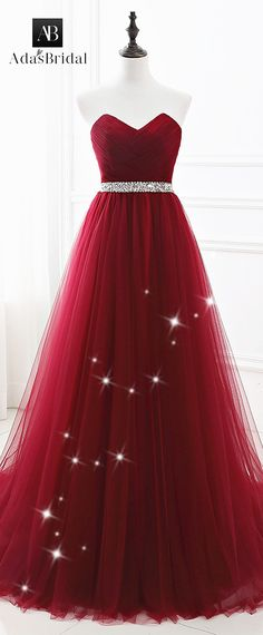 In Stock Alluring Tulle Sweetheart Neckline Floor-length A-line Prom Dresses With Beadings