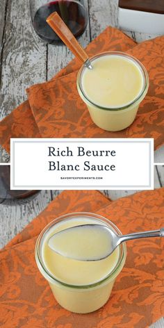 """Beurre Blanc Sauce - A Delicious White Wine Butter Sauce - Beurre Blanc is a classic French sauce translated as """"white butter"""". Decadent and rich, serve it over meats and pasta dishes. Sauce Recipes, Fish Recipes, Seafood Recipes, Cooking Recipes, Seafood Pasta, Seafood Dishes, White Wine Butter Sauce, Lemon Butter Sauce, White Sauce"""
