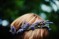 Lavender Wreath, Lavender Flowers, Flowers In Hair, Lavender Hair, Lavender Flower Girl Dress, White Flowers, Irish Wedding, Wedding Makeup, Her Hair
