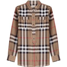 Burberry Brit Check Print Cotton Blouse ($255) ❤ liked on Polyvore featuring tops, blouses, brown, button front blouse, burberry tops, burberry blouse, brown blouse and long sleeve cotton tops