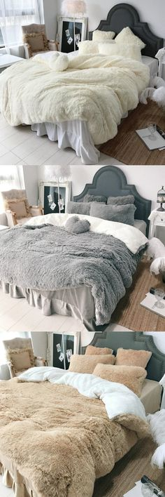 Big Coral Fleece Shearling Bedding Set Sheet Warm Mink Cashmere Cover Pillowcase – Ideas for the House – einrichtungsideen wohnzimmer Shabby Chic Bedrooms, Cozy Bedroom, Dream Bedroom, Dream Rooms, Bedroom Decor, Trendy Bedroom, Bedroom Ideas, My New Room, Apartment Living