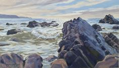 Rocks At Widemouth Bay, Cornwall. Artist Lawrence Dyer