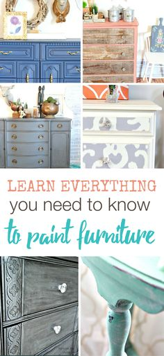 Learn everything you need to know to paint furniture from expert painter Allison Griffith of Refunk My Junk. This ecourse will teach you on your own time how to use chalk paint, work with furniture wax and teach you 6 new furniture finishes. Learn how to paint furniture the easy way! | Furniture Makeovers | Painted Furniture Ideas