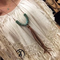 Payson Necklace – disk necklace with leather fringe tassel from Savannah Sevens Western Chic Diy Jewelry Necklace, Leather Necklace, Leather Jewelry, Jewelry Crafts, Earrings Handmade, Beaded Jewelry, Jewellery, Necklace Ideas, Necklaces