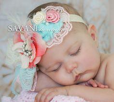 Aqua , ivory and pink  Baby headband, vintage headband, shabby chic roses headband, headband, wedding headband, flower girl outfit