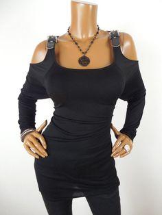 d180f4b10d901 MICHAEL KORS Womens Top M SEXY Shirt MK Buckles Cold Shoulder Long Sleeve  Casual  MichaelKors